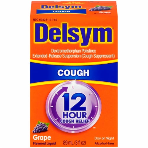 Delsym 12 Hour Relief Grape Flavored Cough Suppressant Perspective: front