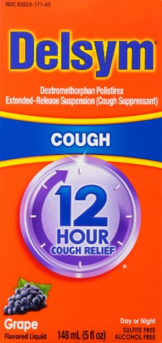 Delsym 12-Hour Grape Flavored Cough Suppressant Liquid Perspective: front
