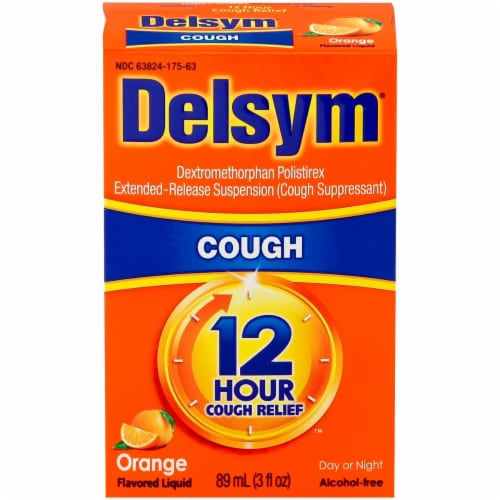 Delsym 12 Hour Relief Orange Flavored Liquid Cough Suppressant Perspective: front
