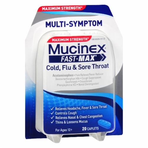 Mucinex Fast-Max Cold Flu & Sore Throat Maximum Strength Caplets Perspective: front