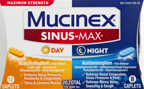 Mucinex Sinus-Max Max Strength Day & Night Sinus Pressure and Congestion Medicine Caplets Perspective: front