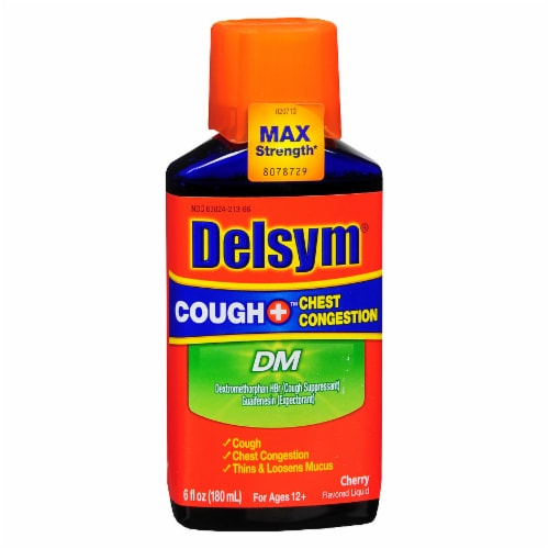 Delsym Adult Cough Plus Chest Congestion DM Cherry Flavored Liquid Perspective: front