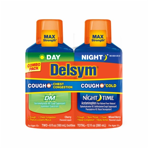 Delsym Day/Night Cough Plus Liquid Combo Pack Perspective: front