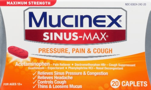 Maximum Strength Mucinex Sinus-Max Pressure Pain & Cough Medicine Caplets Perspective: front
