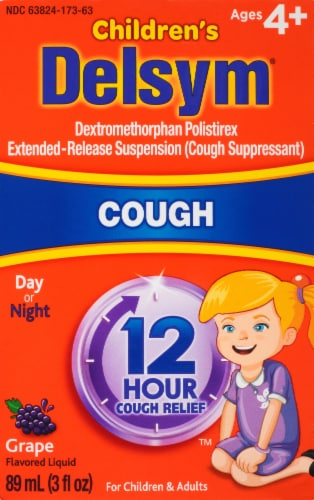 Delsym 12-Hour Relief Grape Flavored Cough Suppressant Perspective: front