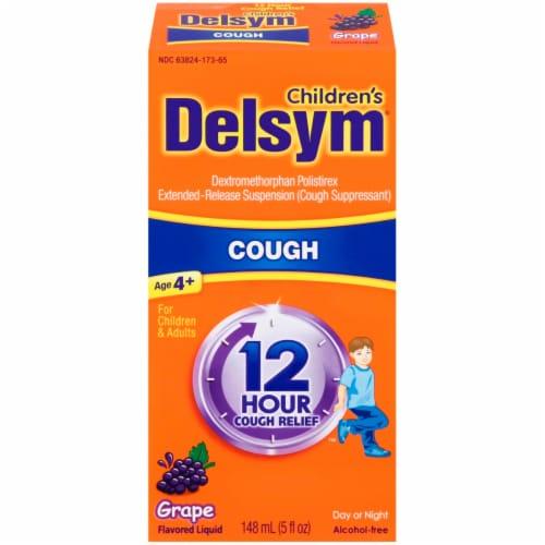 Delsym Children's 12 Hour Grape Cough Suppressant Liquid Perspective: front