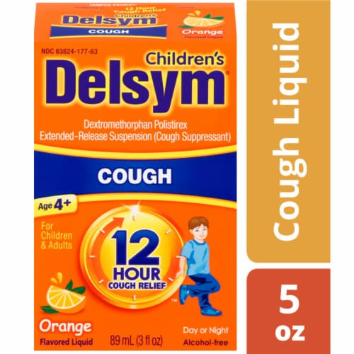 Delysum Children's Orange Flavored Cough Suppressant Liquid Perspective: front