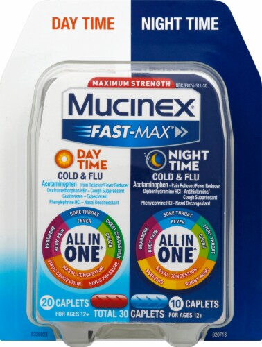 Mucinex Fast-Max Day/Night Time Caplets 30 Count Perspective: front