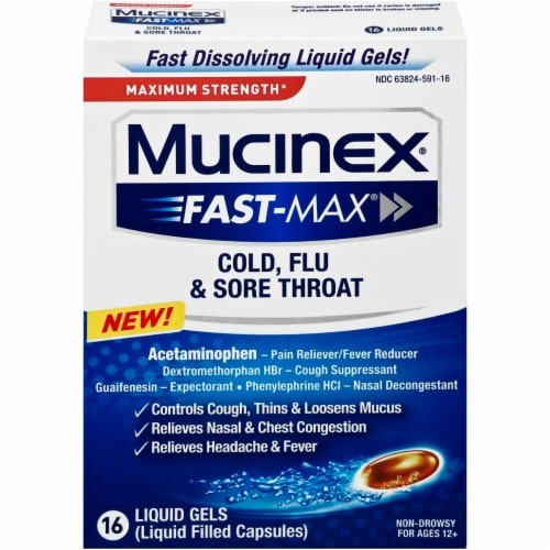 Maximum Strength Mucinex Fast-Max Cold Flu & Sore Throat Multi-Symptom Relief Liquid Gels Perspective: front