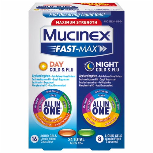 Mucinex Fast-Max Max Strength Day Severe Cold & Night Cold & Flu Liquid Gels Medicine Perspective: front