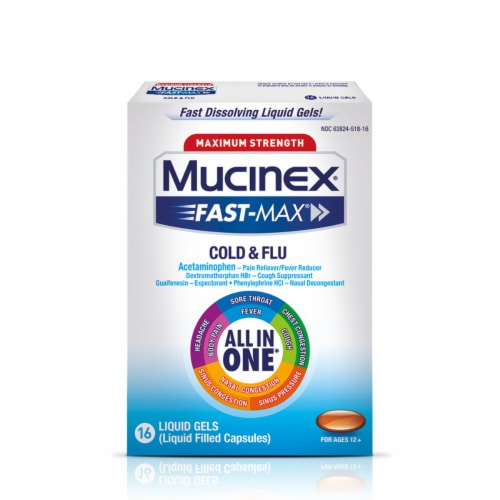 Maximum Strength Mucinex Fast-Max Cold & Flu All-In-One Multi-Symptom Relief Liquid Gels Perspective: front
