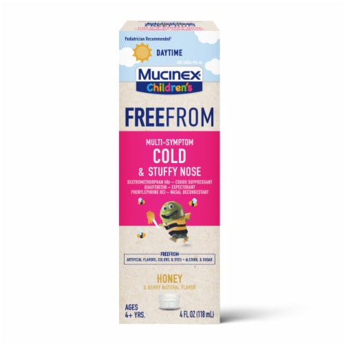 Mucinex Children's Free From Honey & Berry Flavor Daytime Cold & Stuffy Nose Medicine Perspective: front