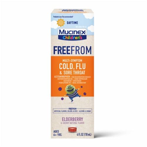 Mucinex Children's Freefrom Multi-Symptom Elderberry & Cherry Flavor Cold Flu & Sore Throat Liquid Perspective: front