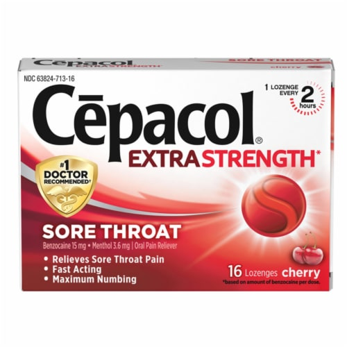 Cepacol Extra Strength Sore Throat Cherry Lozenges Perspective: front