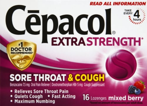 Cepacol Extra Strength Sore Throat & Cough Reliever Mixed Berry Flavored Lozenges Perspective: front