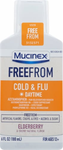 Mucinex FreeFrom Elderberry & Cherry Flavor Daytime Cold & Flu Liquid Perspective: front