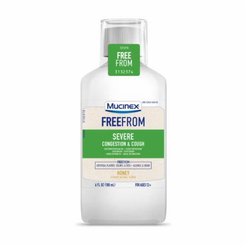 Mucinex FreeFrom Honey & Berry Flavor Severe Conestion & Cough Liquid Perspective: front