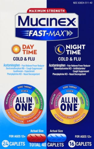 Mucinex Fast-Max Day and Nighttime All In One Cold & Flu Caplets 40 Count Perspective: front