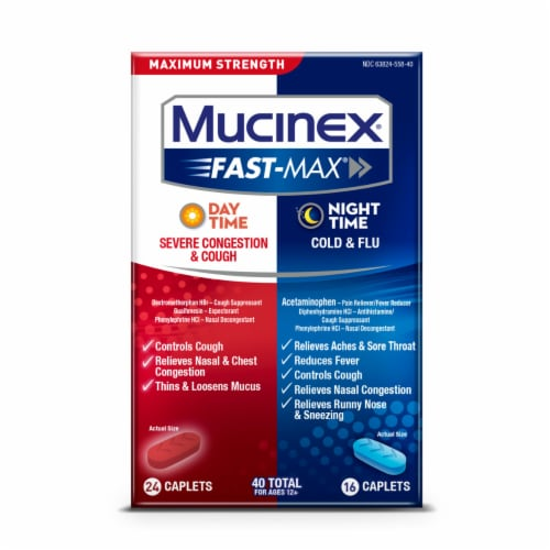 Mucinex Fast-Max Day Time Severe Congestion and Cough & Night Time Cold & Flu Caplets 40 Count Perspective: front