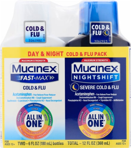Mucinex Fast Max Day and Night Cold and Flu Liquid Perspective: front