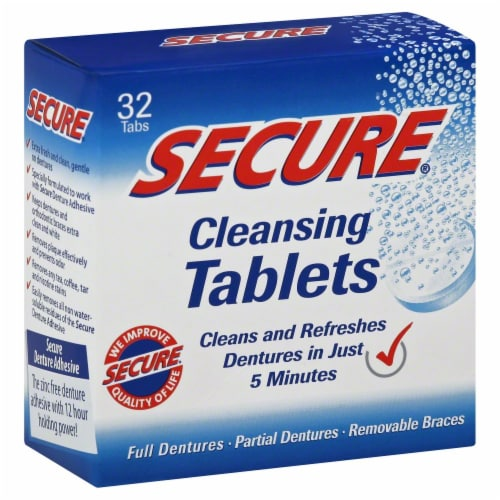 Secure Denture Cleansing Tablets Perspective: front