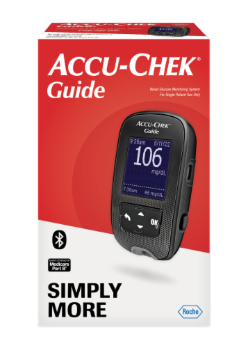 Accu-Chek Guide Blood Glucose Monitoring Kit Perspective: front