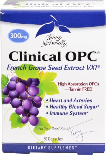 Terry Naturally Clinical OPC French Grape Seed Extract VX1 Capsules 300 mg Perspective: front