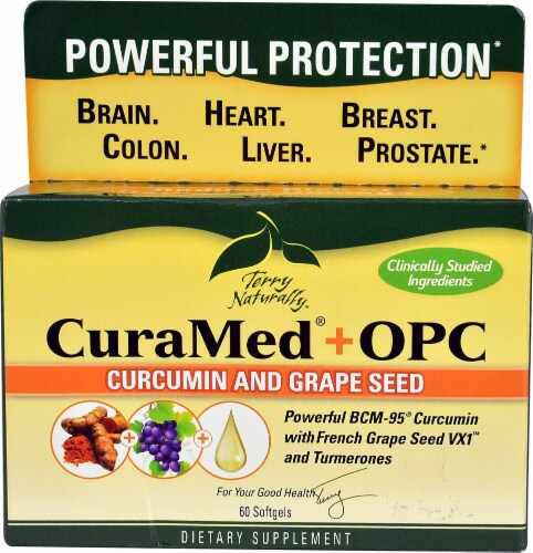 Terry Naturally CuraMed + OPC Softgels Perspective: front