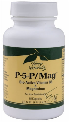 Terry Naturally P-5-P Mag Bio Active Vitamin B6 & Magnesium Caplets Perspective: front
