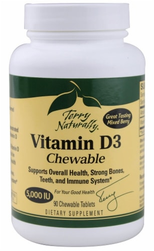 Terry Naturally Mixed Berry Vitamin D3 Chewable Tablets 5000 IU Supplement Perspective: front