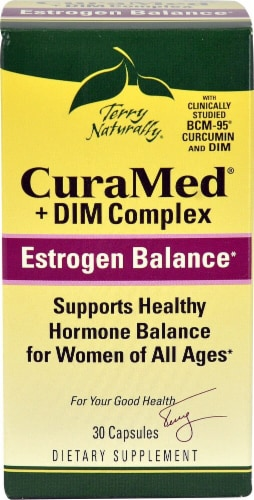 Terry Naturally CuraMed + DIM Complex Estrogen Balance Capsules Perspective: front