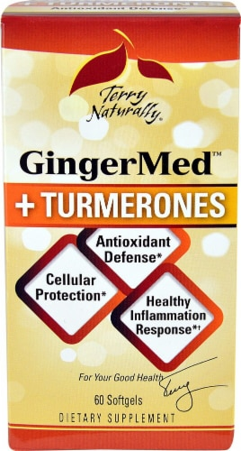 Terry Naturally GingerMed + Turmerones Softgels Perspective: front
