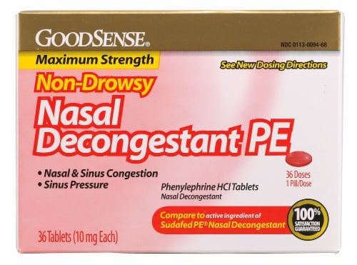 Good Sense Non-Drowsy Nasal Decongestant PE Tablets 10mg Perspective: front