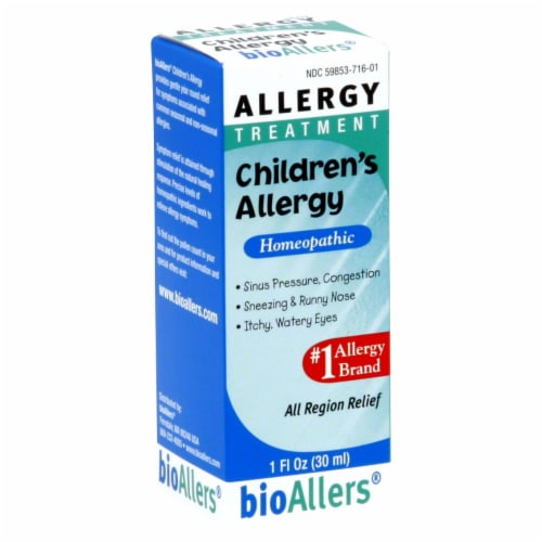 BioAllers Homeopathic Children's Allergy Relief Liquid Perspective: front