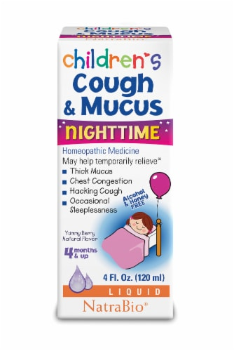 NatraBio Children's Cough & Mucus Nighttime Liquid Perspective: front