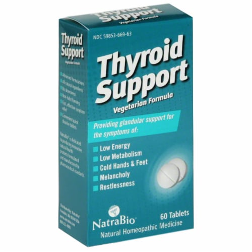 NatraBio Thyroid Support Tablets Perspective: front