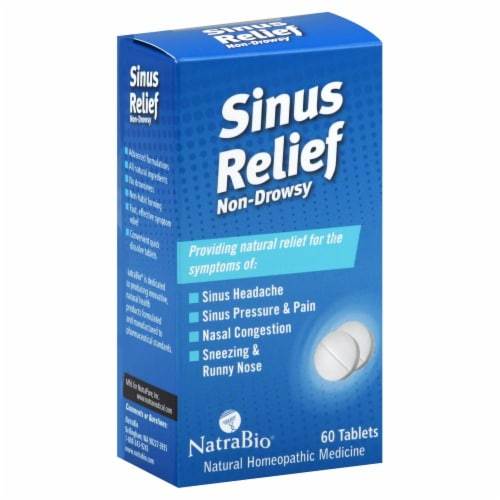 NatraBio Non Drowsy Sinus Relief Tablets Perspective: front
