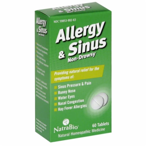 NatraBio Allergy & Sinus Tablets Perspective: front