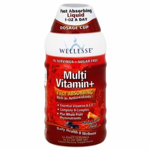 Wellesse Multi-Vitamin Liquid Dietary Supplement Perspective: front