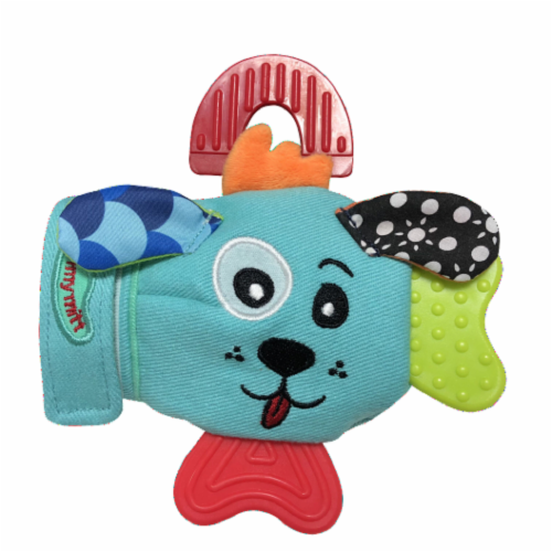D Darlyng & Co. Teething Mitten (1 Blue Yummy Buddy & 1 Dog Mitts) Perspective: front