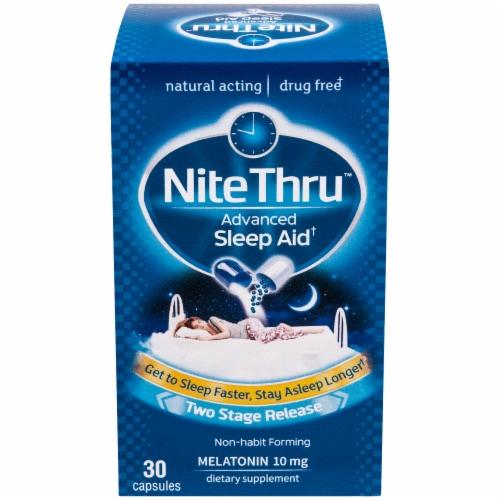 NiteThru Advanced Melatonin Sleep Aid Capsules Perspective: front