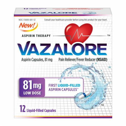 Vazalore Liquid-Filled Aspirin Capsules Perspective: front