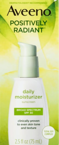 Aveeno Positively Radiant Daily Moisturizer Sunscreen SPF 30 Perspective: front