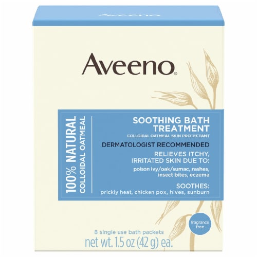 Aveeno Single Use Colloidal Oatmeal Skin Protectant Soothing Bath Treatment Packets Perspective: front