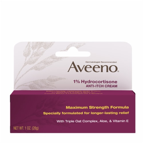 Aveeno 1% Hydrocortisone Anti-Itch Cream Perspective: front