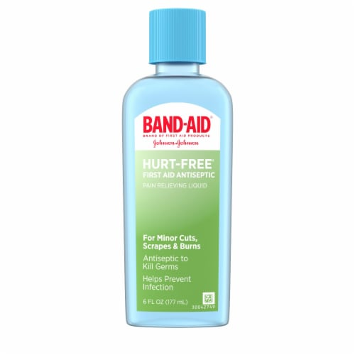 Band-Aid Hurt-Free First Aid Antiseptic Pain Relieving Liquid Perspective: front