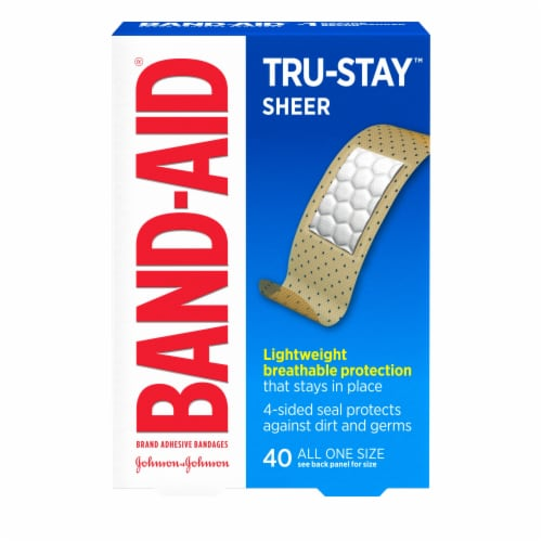 Band-Aid Comfort Sheer Strips Bandages Perspective: front