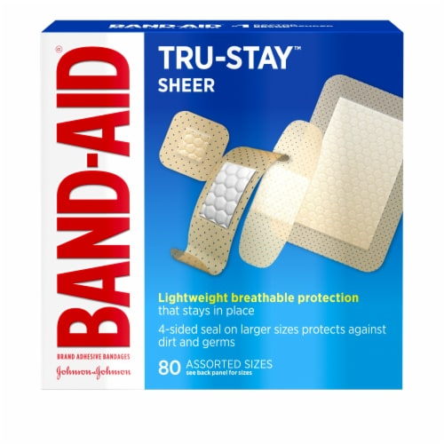 Band-Aid Tru Stay Sheer Strips Breathable Assorted Bandages Perspective: front