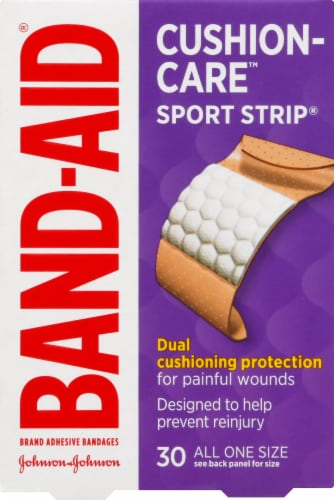 Band-Aid Cushion Care Extra Wide Sport Strip Bandages Perspective: front