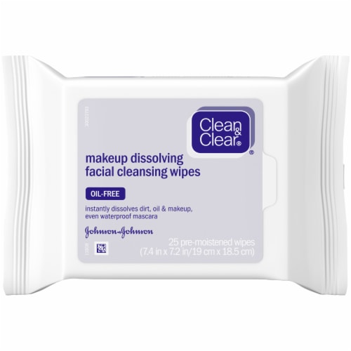 Clean & Clear Makeup Dissolving Facial Cleansing Wipes 25 Count Perspective: front